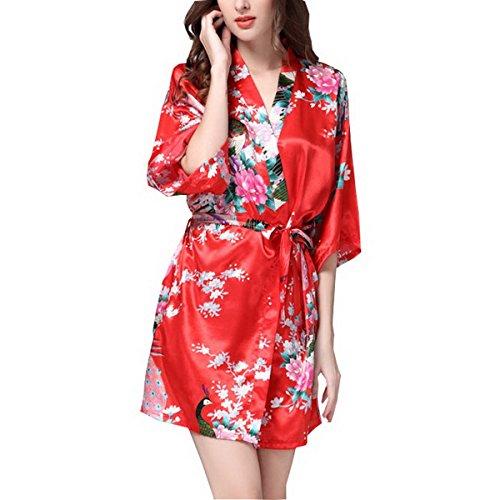 con notte Accappatoio Gown da Kimono motivo in Camicia fiori rossi raso da Dressing notte Camicia Donna Ahatech XEqwnO0SxO