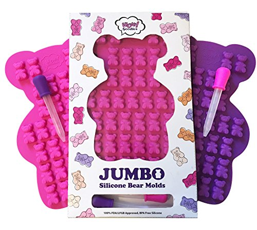 NEW UNIQUE Extra Large Gummy Bear Mold - Set of 2 Big Molds + 2 BONUS Droppers - BPA Free FDA Approved Silicone - Make Bigger 1.2