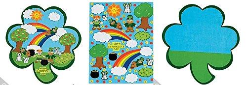 12 Shamrock St. Patricks Day Kids Sticker Scenes | Childrens Craft Stickers -