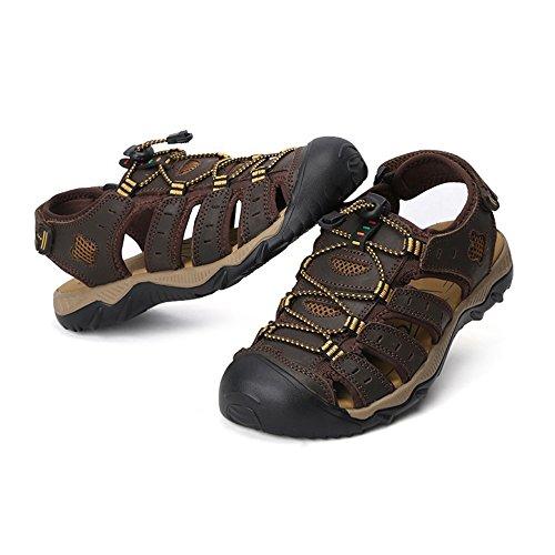 Vlly Mens Sandali Vacchetta Genuini Riverside Sandalo Regolabile Con Cinturino Sandalo Scuro