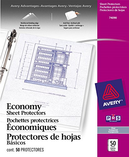 Avery Acid Free Economy Sheet Protectors, Clear, Box of 50 (3 Ring Binder Inserts)