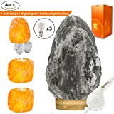 MAYMII·HOME VERY RARE, (5-8lbs) Grey Gray White Himalayan Salt Lamp Lights, Salt Table Lamp Bamboo Base Touch Dimmer Switch Control With 1 Salt Night Light, Set of 2 Pack Salt Candle Holders