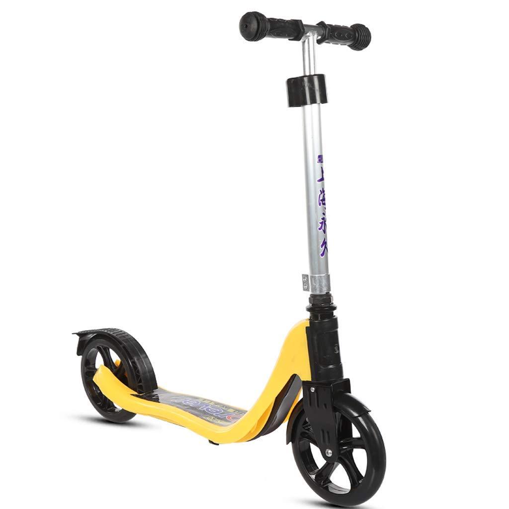 XUEYING-KickScooter Kinder Roller 6-16 Jahre alt Männliche und Weißliche Kinder Jugend Erwachsener ZWeißad Pedal Roller (Farbe   Blau) Gelb