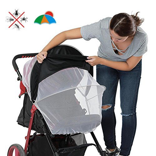 Aolvo Stroller Sun Shade Mosquito Net for Baby Stroller Uv Protection, Bugs, Dust, Adjustable Shed