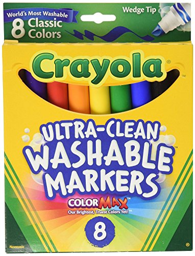 Crayola Binney & Smith (R) Washable Wedge Tip Markers, Assorted Colors, Box Of 8 ()