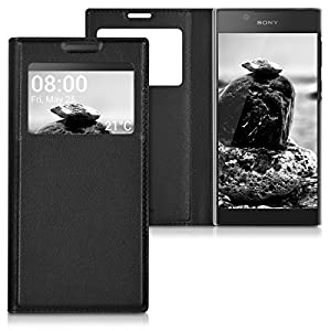 kwmobile Practical and chic FLIP COVER case with window and synthetic leather for Sony Xperia L1 in black