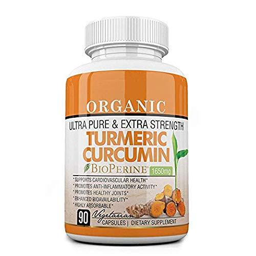 Organic Ultra Pure and Extra Strength (1650 mg) Turmeric Curcumin Extract BioPerine (90 Vegetarian Turmeric Capsules) 95% Curcuminoids | Turmeric Curcumin Capsules | Anti-Inflammatory, Anti-Aging