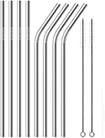 Stainless Steel Drinking Straws , Reusable Metal Drinking Straws Set of 8 with 2 Free Cleaning Brush Included (Silver)