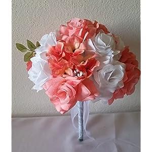 Coral Reef White Rhinestone Rose Hydrangea Bridal Wedding Bouquet & Boutonniere 107