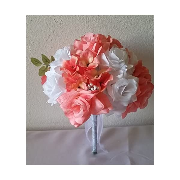 Coral Reef White Rhinestone Rose Hydrangea Bridal Wedding Bouquet & Boutonniere