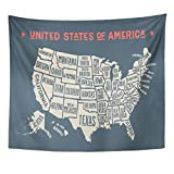 Emvency Tapestry Vintage Map of United States America with Names Black and White USA Geographic Themes Country Drawing Home Decor Wall Hanging for Living Room Bedroom Dorm 50x60 inches