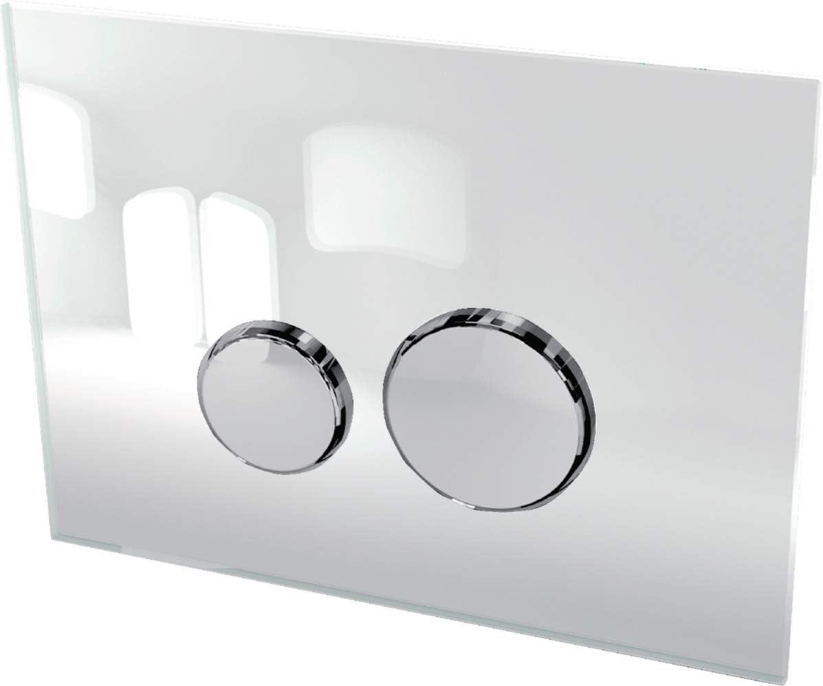 concerto ronde verre blanc et insert chrom/é brillant alterna 31199413 plaque de commande