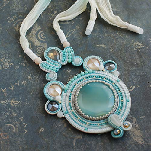 (Soutache handmade embroidered light blue turquoise gray white ivory pendant with agate, Beaded luxury big coctail Swarovski statement necklace, Fabric oriental bohemian boho ethnical jewelry)