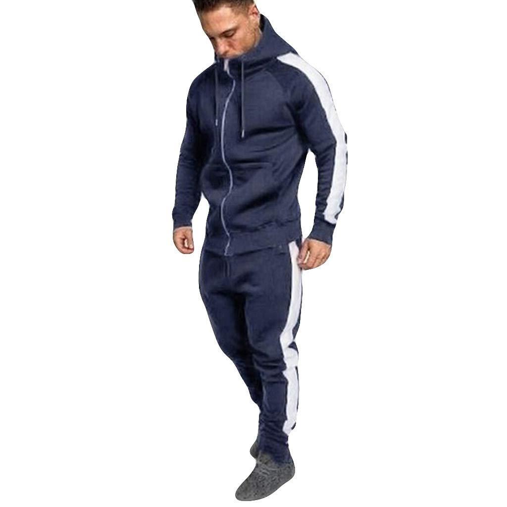 Hombres Chándales Rovinci Otoño Invierno Cremallera Impreso Sudaderas Tops Pantalones Conjuntos Deportes Trajes de Running: Amazon.es: Ropa y accesorios
