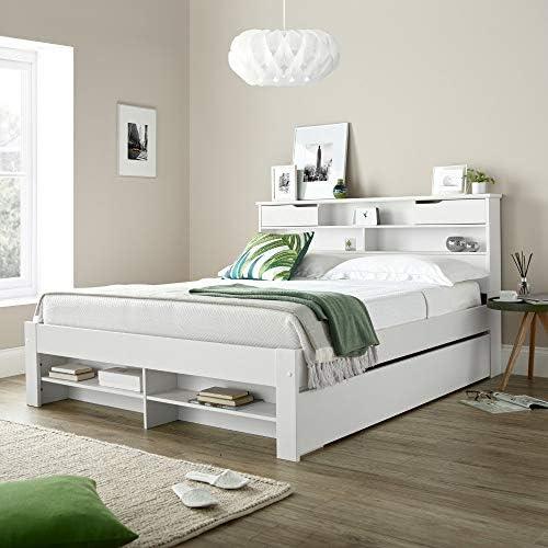Happy Beds - Cama de Almacenamiento con 2 cajones (Madera, 135 x 190 cm), Color Blanco