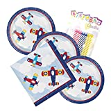 Lil Flyer Airplane Theme Plates and Napkins Serves 16 With Birthday Candles