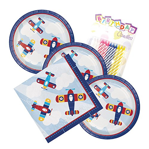 Lil Flyer Airplane Theme Plates and Napkins Serves 16 With Birthday Candles by JJ Party Supplies