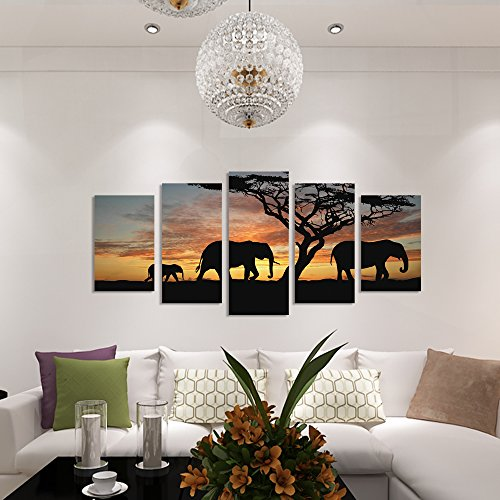 GEVES Framed 5 Pieces HD Walking Elephants View Landscape Ph