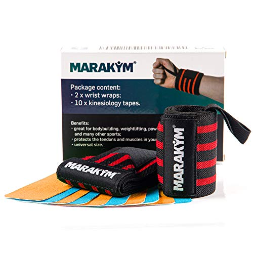 Premium Wrist Wrap Pair | Professional Wraps Weight Lifting, Crossfit, Powerlifting, Gym Workout, Bodybuilding | Wrist Band For Men & Women To Avoid Injuries and Alleviate Pain - Bonus Kinesiology Tap