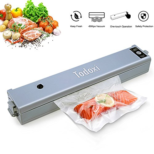 Vacuum Sealer Machine, Todoxi Automatic Vacuum Sealing System for Food Sealers,Portable Vaccum Packing and Sealing with 10 FREE Sealable Bags and 1 Pair Replaceable Vaccum Strips