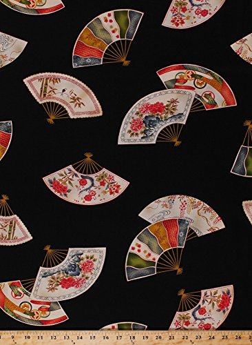 Cotton Fanfare Fans Asian Oriental Elegant Floral Flowers on Black Cotton Fabric Print by the Yard (cx3305-blac-d)