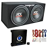 MTX TNE212D 12' 1200W Dual Loaded Car Subwoofers + Box + Planet 1500W Amp + Kit