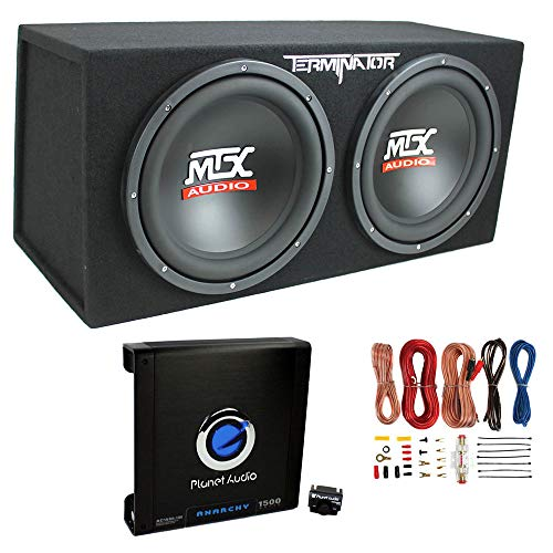 "MTX TNE212D 12"" 1200W Dual Loaded Car Subwoofers + Box + Planet 1500W Amp + Kit"