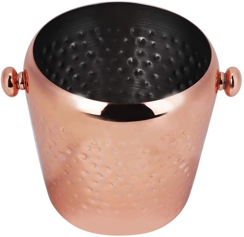 1L Stainless Steel Ice Buckets Brushed Ice Cube Container Bar Home Wine Bucket Hotel Use(Rose Gold)