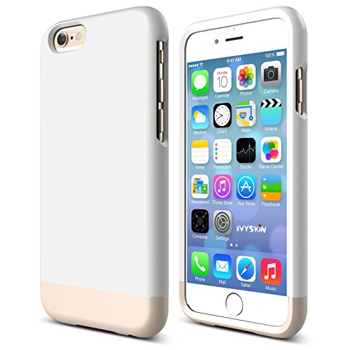 iPhone 6 6s Case, Thin [SLIMFIT Series] Protective Slider Case for Apple iPhone 6 /6s (4.7) Soft-Interior Scratch Protection with Vibrant Color - White / Rose Gold [ Screen Guard ()