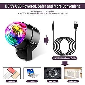 51RF%2BliDjBL. SS300  - Techole-Discokugel-LED-Party-Lampe-Musikgesteuert-Disco-Lichteffekte-Discolicht-mit-4M-USB-Kabel-7-Farbe-RGB-360-Drehbares-Partylicht-mit-Fernbedienung-fr-Weihnachten-Kinder-Kinderzimmer-Party