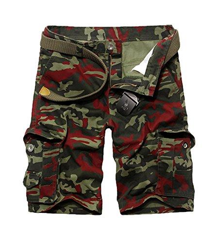 Tonwhar 2015 New Style Fashion Men's Utility Camo Shorts (34, red camo)