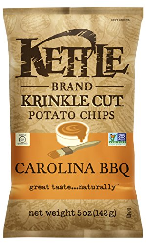 Kettle Brand Krinkle Cut Potato Chips, Carolina BBQ, 5 Ounce (Pack of 15) South Carolina Chip