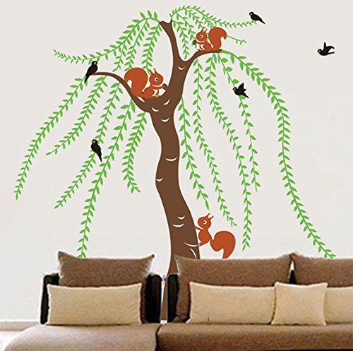 Pop Decors PT-0069-Vb Beautiful Wall Decal, Big Willow and Squirrel by Pop Decors