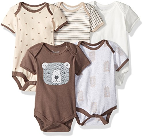 Apparel Layette (Rene Rofe Baby Collection Unisex 5-Pack Bodysuits, Brown Bear, 6-9 Months)