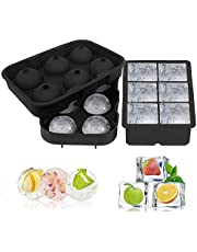 Ice Cube Trays, Silicone Sphere Whiskey Ice Ball Maker with Lids & Large Square Ice Cube Molds for Cocktails & Bourbon - Reusable & BPA Free
