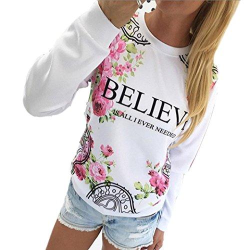 Women Blouse ,IEason 2017 Hot Sale! Women Floral Print Sweatshirt Hoodies Long Sleeve Loose Blouse (S, - Uk Guess Sale