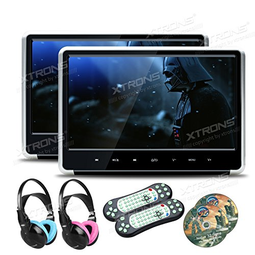 XTRONS Silver 2X 11.6 Inch Pair HD Digital Touch Panel Car Auto Headrest Active DVD Player Kid Games Built-in HDMI Port Headphones Included(Blue&Pink)