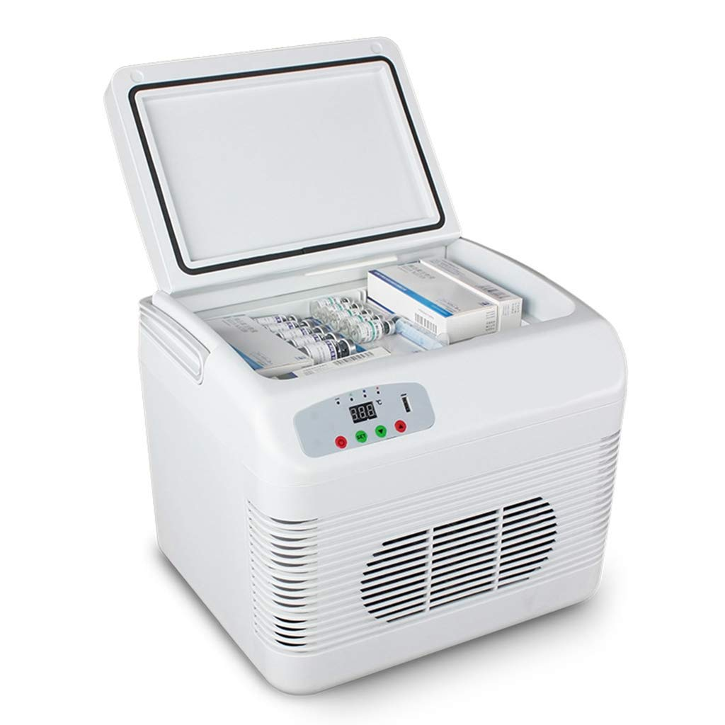 Car Refrigerator 12L, Mini Fridge Cooler Drug Vaccine Insulin Storange, Portable Freezer Heatable and Refrigerated, Food Warmer or Refrigerator for Car and Home Travel Camping Picnic,White