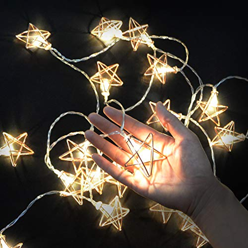 9.8ft Rose Gold Geometric Metal 20 LEDs Star Copper Wire Fairy String Lights,Water Drop Metal Cage String Lights Battery Operated for Chirstmas,Wedding, Garden Home Decor