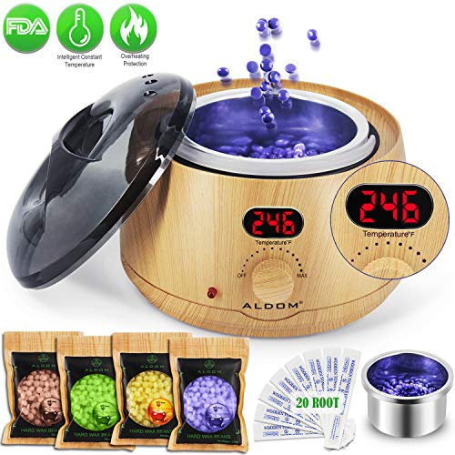 Aldom Hair Removal Waxing Kit Wax Warmer - Electric Wax Pot with LCD Display Precision Temperature Control (110°F - 246°F), 4-Flavor Wax Beans and 20 Wax Applicator Stickers for Rapid Waxing ()