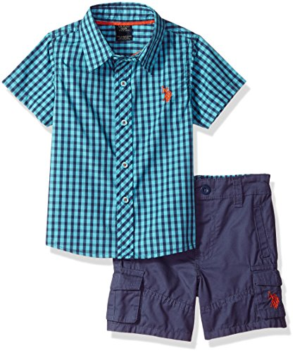 U.S. Polo Assn. Boys' Toddler Sleeve Woven Shirt and Short Set, Fineline Twill with Wash Painters Aqua, 2T (Sleeve Shirt Woven)