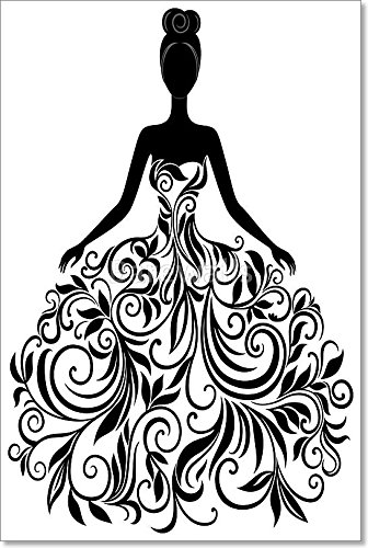 Vector Silhouette Of Young Woman In Dress Gallery Wrapped Canvas Art (36 in. x 24 in.) by barewalls