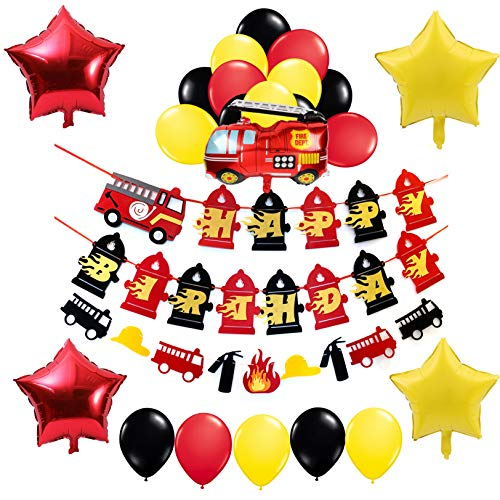 Firetruck Party Decorations-1 Happy Birthday Banner,1 Fireman Garland,1 Fire Truck and 4 Star Shaped Mylar Balloons,16 Red Yellow Black Balloons-Fire Station Supplies and Favors for Girls Boys Kids 1st 2nd ()
