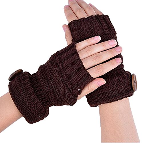 PASATO Winter Knitted Warm Fingerless Comfortable Button Gloves Women Button Wrist Soft Mittens(Coffee,Free Size)