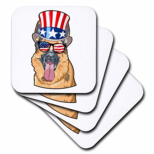 3dRose Patriotic American Dogs - German Shepherd Dog With American Flag Sunglasses and Top hat - set of 4 Ceramic Tile Coasters (cst_282708_3)