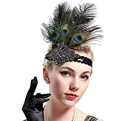 1920s Flapper Sequined Peacock Feather Headband