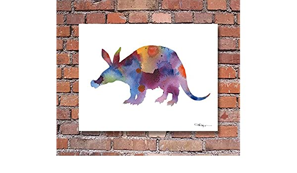 Armadillo Abstract Watercolor Painting Art Print by Artist DJ Rogers