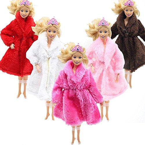 Calistouk 1pièce Winter poupée Vêtements de couleur unie en peluche Manteau poupée Barbie Accessoires aléatoire