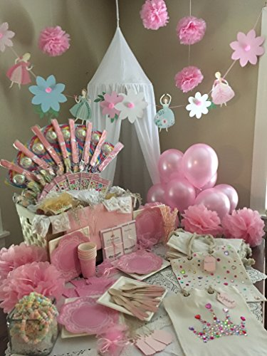 Princess Birthday Party Supply for 8 - The Ultimate Collection with Real Crowns & Gloves .Cotton Purses to decorate with Gems, Decorations, Medieval Activity Books and more! (247 items) by Storybook Gatherings