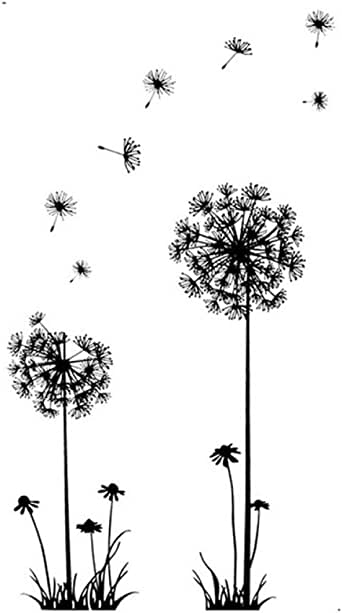 Lowprofile Black Creative PVC Dandelion Flower Plant Tree Large Removable Home Wall Decal